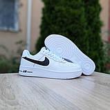 Nike Air Force 1 женские белые с черным демисезонные кроссовки на шнурках, фото 8