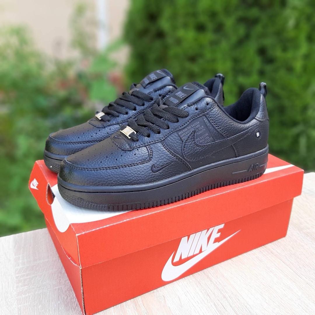 Nike Air Force  женские демисезонные черные кроссовки на шнурках