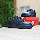 Nike Air Force  женские демисезонные черные кроссовки на шнурках, фото 2
