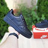 Nike Air Force  женские демисезонные черные кроссовки на шнурках, фото 3