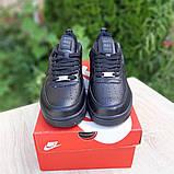 Nike Air Force  женские демисезонные черные кроссовки на шнурках, фото 4
