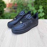 Nike Air Force  женские демисезонные черные кроссовки на шнурках, фото 6
