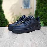 Nike Air Force  женские демисезонные черные кроссовки на шнурках, фото 8