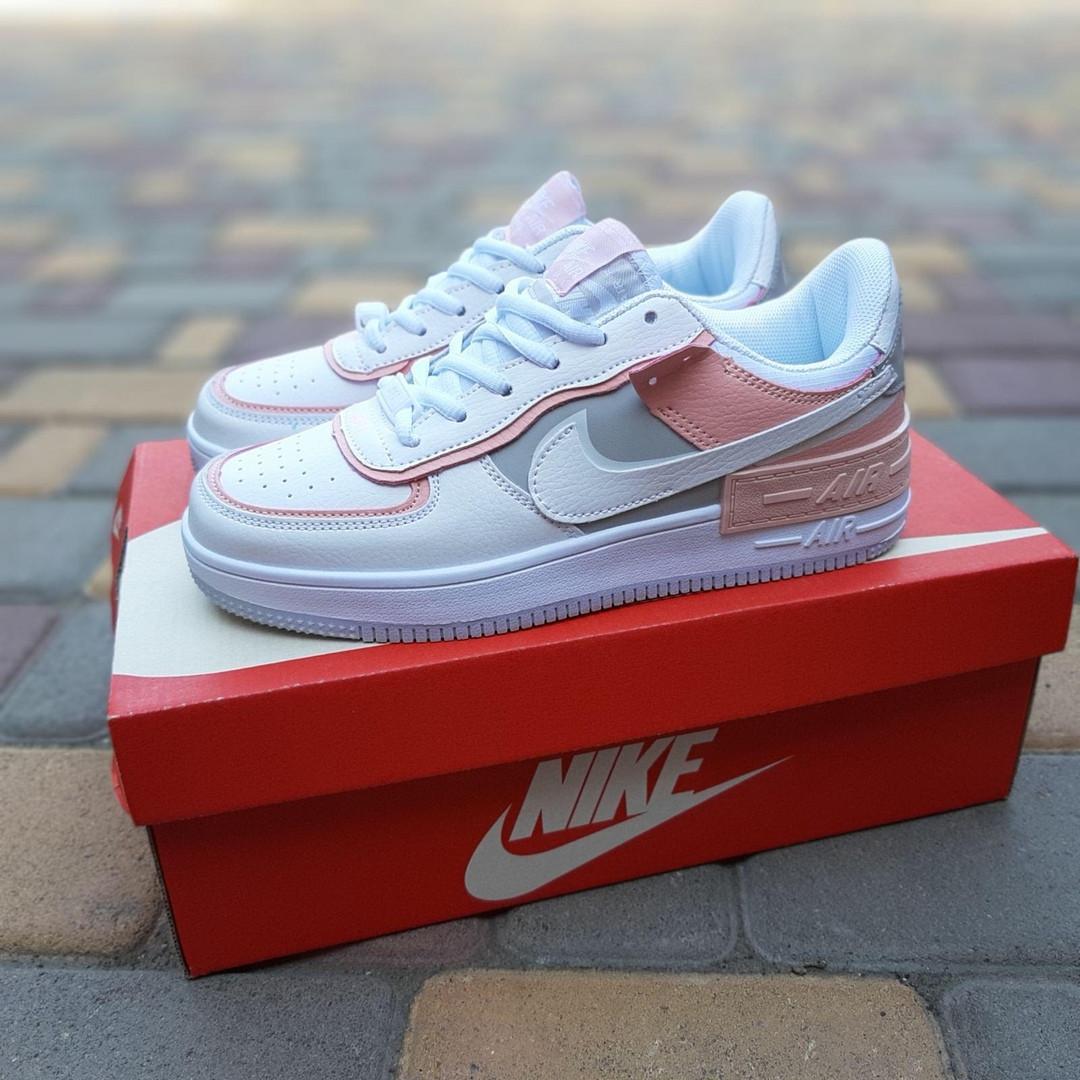 Nike Air Force 1 Shadow женские демисезонные белые с серым с пудрой кроссовки на шнурках
