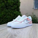 Nike Air Force 1 Shadow женские демисезонные белые с серым с пудрой кроссовки на шнурках, фото 3