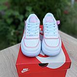 Nike Air Force 1 Shadow женские демисезонные белые с серым с пудрой кроссовки на шнурках, фото 4