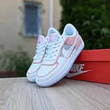 Nike Air Force 1 Shadow женские демисезонные белые с серым с пудрой кроссовки на шнурках, фото 5