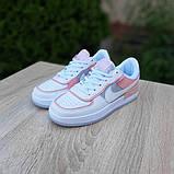 Nike Air Force 1 Shadow женские демисезонные белые с серым с пудрой кроссовки на шнурках, фото 6