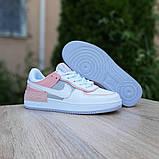 Nike Air Force 1 Shadow женские демисезонные белые с серым с пудрой кроссовки на шнурках, фото 7