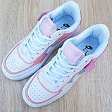 Nike Air Force 1 Shadow женские демисезонные белые с серым с пудрой кроссовки на шнурках, фото 9
