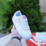 Nike Air Force 1 Shadow женские демисезонные белые с сиреневым кроссовки на шнурках, фото 3