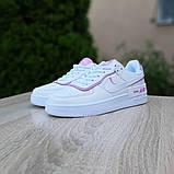 Nike Air Force 1 Shadow женские демисезонные белые с сиреневым кроссовки на шнурках, фото 4