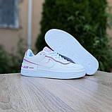 Nike Air Force 1 Shadow женские демисезонные белые с сиреневым кроссовки на шнурках, фото 5