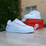 Nike Air Force 1 Shadow женские демисезонные белые с сиреневым кроссовки на шнурках, фото 7