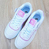 Nike Air Force 1 Shadow женские демисезонные белые с сиреневым кроссовки на шнурках, фото 9