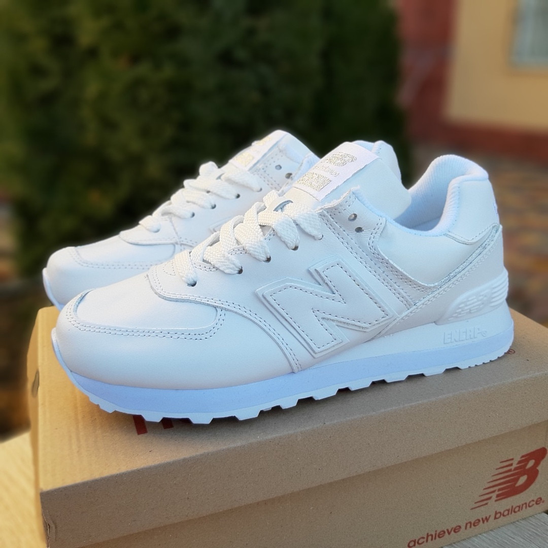 New Balance 574 женские демисезонные белые кроссовки на шнурках