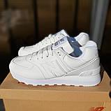 New Balance 574 женские демисезонные белые кроссовки на шнурках, фото 2