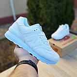 New Balance 574 женские демисезонные белые кроссовки на шнурках, фото 3