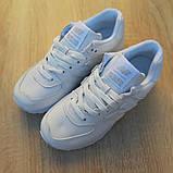 New Balance 574 женские демисезонные белые кроссовки на шнурках, фото 4