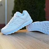New Balance 574 женские демисезонные белые кроссовки на шнурках, фото 6
