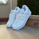 New Balance 574 женские демисезонные белые кроссовки на шнурках, фото 8