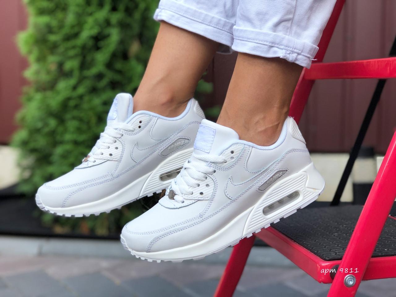 Nike Air Max женские демисезонные белые кроссовки на шнурках