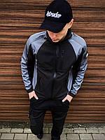 Мужская демисезонная куртка, ветровка, плащевка, цвет черно-серая