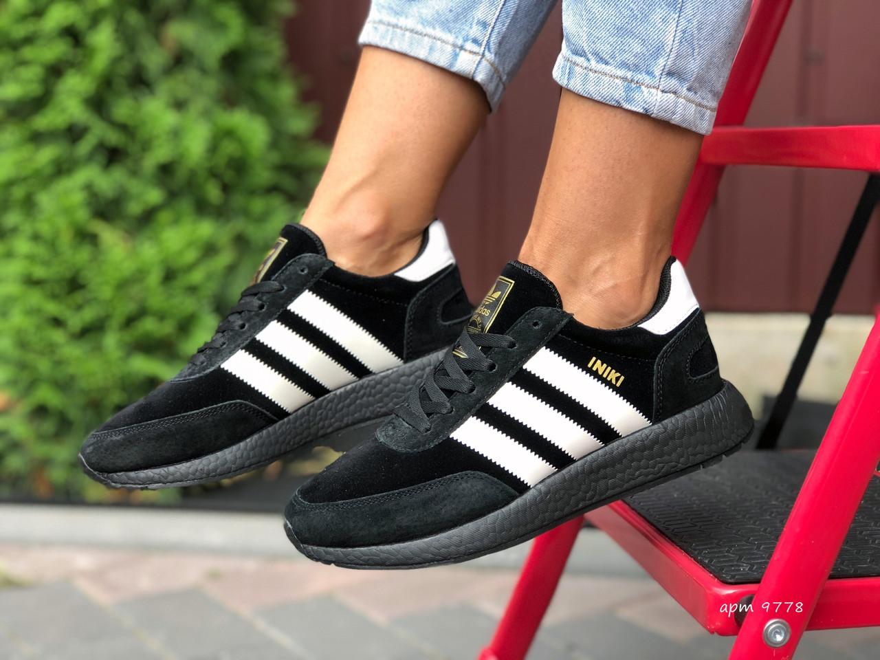 Adidas Iniki женские демисезонные черно белые кроссовки на шнурках