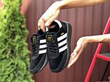 Adidas Iniki женские демисезонные черно белые кроссовки на шнурках, фото 2