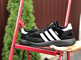 Adidas Iniki женские демисезонные черно белые кроссовки на шнурках, фото 3