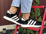 Adidas Iniki женские демисезонные черно белые кроссовки на шнурках, фото 4