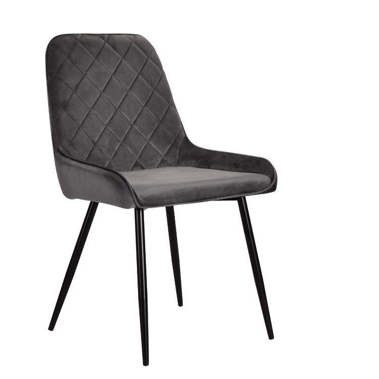 Элегантное бархатное кресло серого цвета на черных металлических ножках Stan