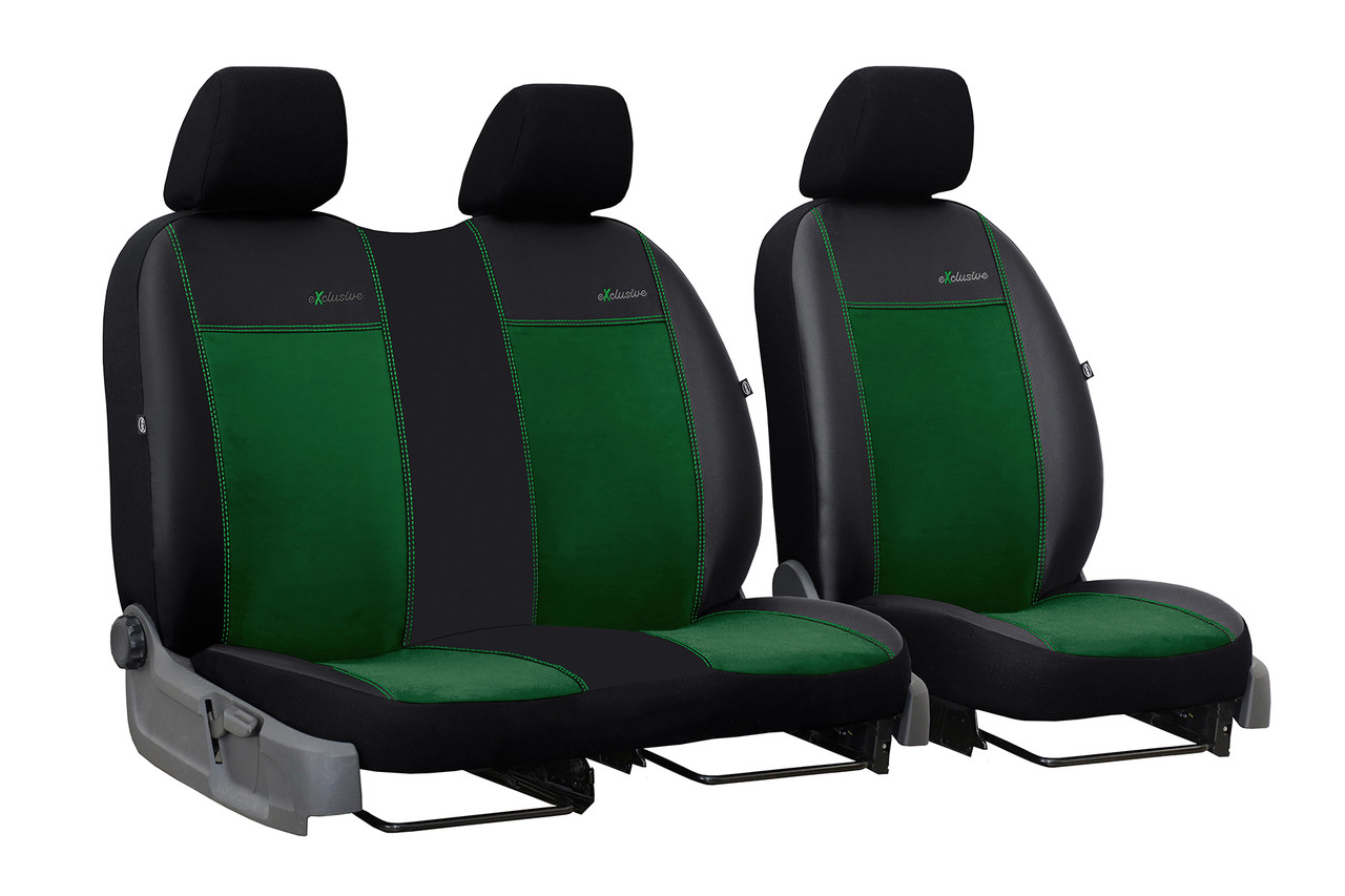 Автомобільні чохли універсальні Pok-ter Exclusive Alkantara 2+1 з екошкіри і алькантари зелений