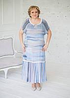 Сукня з попліну ніжно-блакитного кольору з мереживом і воланом, фото 1