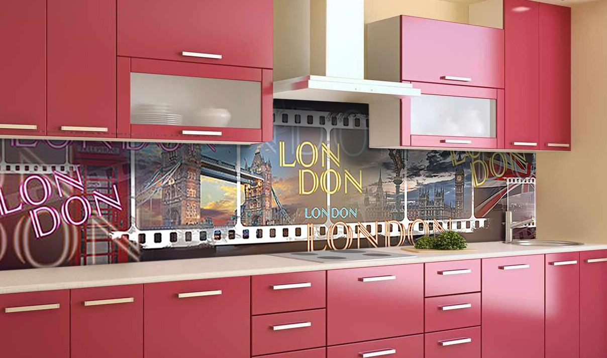 Виниловый 3Д кухонный фартук Лондон Кинопленка (самоклеющаяся пленка ПВХ скинали) Абстракция Голубой 600*2500 мм