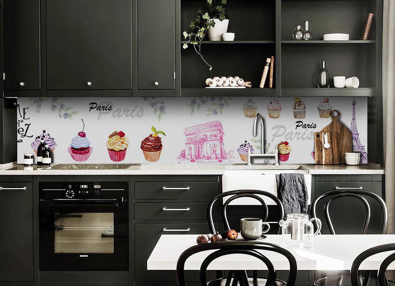 Виниловый 3Д кухонный фартук Французские пирожные (самоклеющаяся пленка ПВХ скинали) сладости Еда Белый 600*2500 мм
