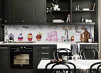 Виниловый 3Д кухонный фартук Французские пирожные (самоклеющаяся пленка ПВХ скинали) сладости Еда Белый 600*2500 мм, фото 1