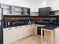 Виниловый 3Д кухонный фартук Ночной Город река (самоклеющаяся пленка ПВХ скинали) Архитектура Синий 600*2500 мм, фото 1