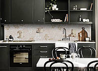 Виниловый 3Д кухонный фартук Листья Орнамент (самоклеющаяся пленка ПВХ скинали) растительный узор Абстракция Бежевый 600*2500 мм, фото 1