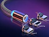 Магнитный кабель шнур зарядки магнитная зарядка USB Type C / Micro USB / Ligtning IPHONE длинна 1 м, фото 2