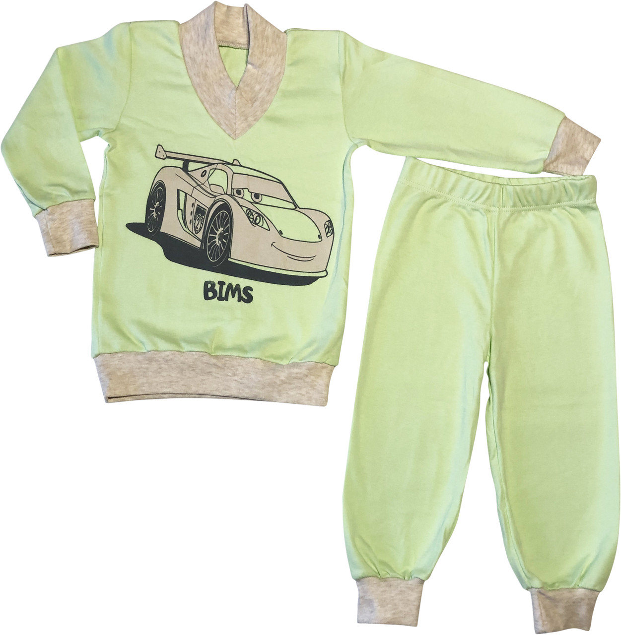 Дитяча піжама ріст 98 2 роки-3 роки трикотажна інтерлок салатова Тачки на хлопчика для малюків С016