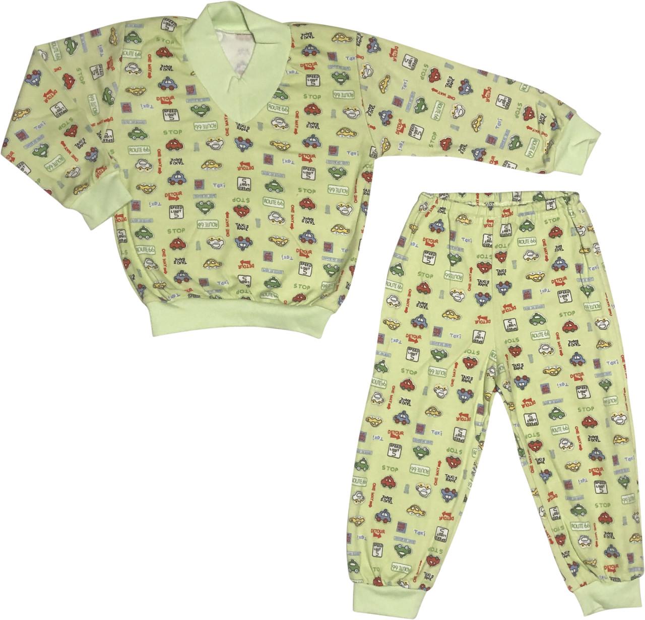 Дитяча піжама зростання 86 1 рік-1,5 року інтерлок салатовий на хлопчика для малюків ТН-179