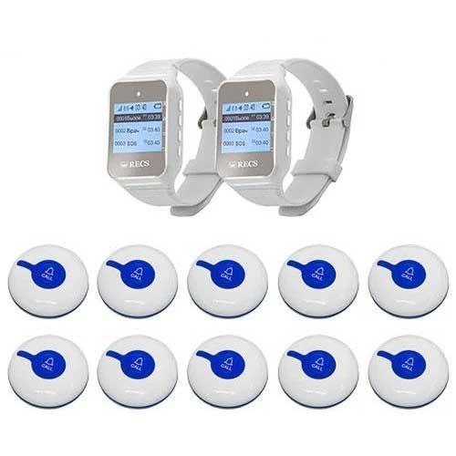 Система виклику медперсоналу RECS №102   кнопки виклику медсестри 10 шт + 2 пейджера персоналу