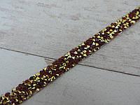 Страхова смужка на силіконі 1х40 см, золото + червоний.