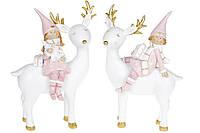 Декоративна статуетка Дівчинка на оленя, 20.5 см, 2 види, колір - рожевий з білим