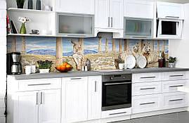 Вініловий 3Д кухонний фартух Тигри і Скульптура самоклеюча плівка ПВХ скіналі колони Тварини Бежевий