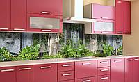 Виниловый 3Д кухонный фартук Скульптуры в саду (самоклеющаяся пленка ПВХ скинали) Природа Зеленый 600*2500 мм