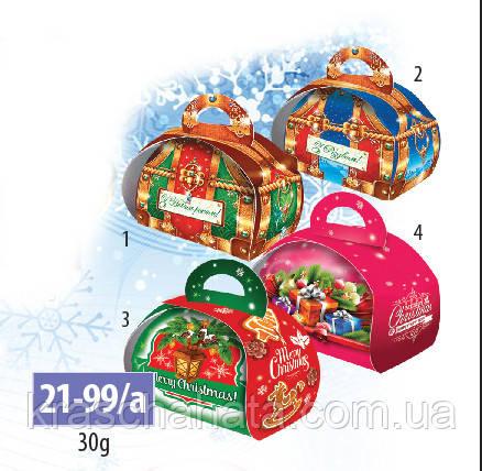 Коробка новогодняя, сундучок, 30 грамм, Картонная упаковка для конфет