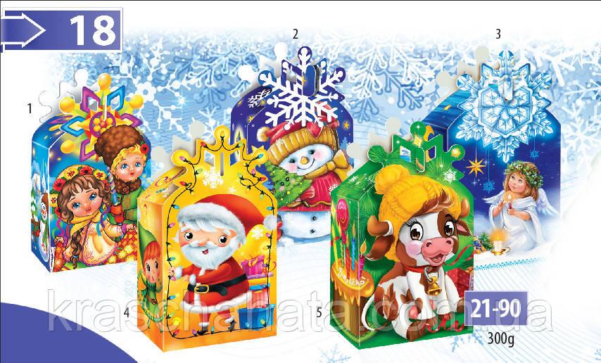 Новогодняя коробка, Новогодняя снежинка, 300 гр, Картонная упаковка для конфет,