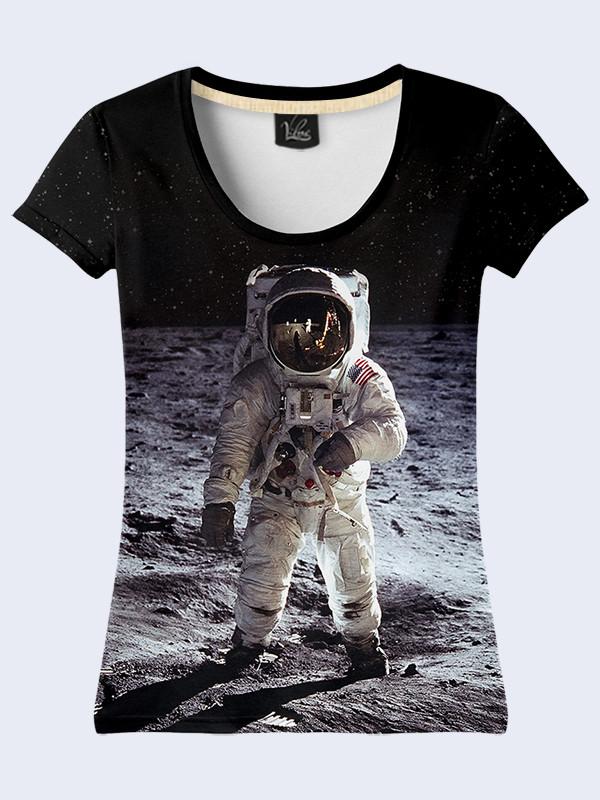 Женская футболка с принтом Человек на Луне